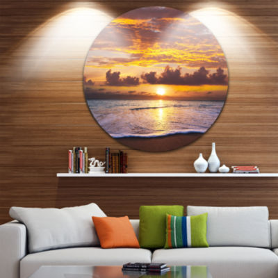 Design Art Layers of Yellow Clouds at Sunset Seascape Metal Circle Wall Art