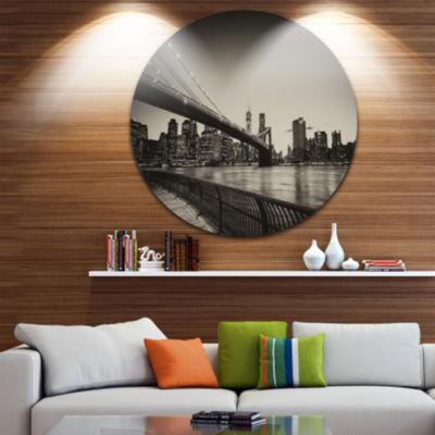 Design Art Famous Landmark of Brooklyn Bridge Ultra Glossy Cityscape Circle Wall Art