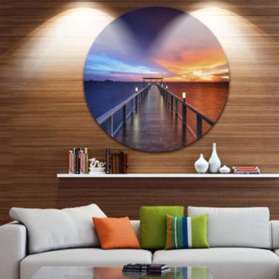 Design Art Picturesque Seashore with Long Pier Pier Seascape Metal Circle Wall Art