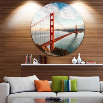 Design Art Golden Gate Bridge in San Francisco Ultra Glossy Sea Bridge Metal Circle Wall Art