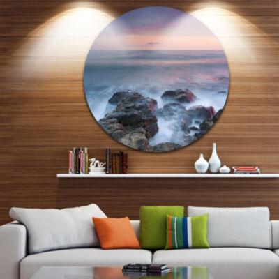 Design Art Blue Rocky Sea Beach Sunset Landscape Metal Circle Wall Art