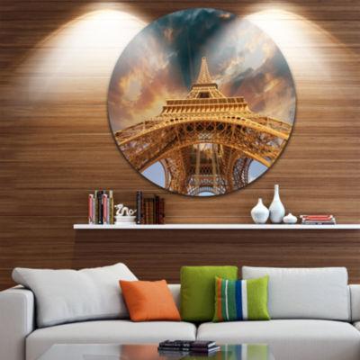 Design Art Paris Paris Eiffel Towerin Paris with Sunset Colors Ultra Glossy Cityscape Circle Wall Art