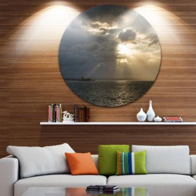 Design Art Beautiful Cloudy Sunset at Australia Beach Ultra Glossy Seashore Metal Circle Wall Art