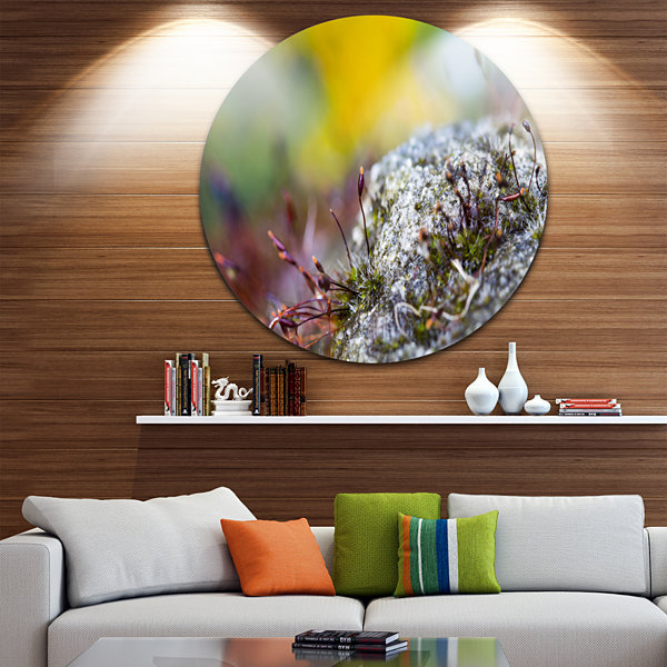Design Art Abstract Composition of Moss Flowers Landscape Metal Circle Wall Art