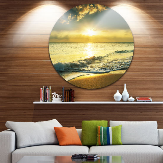 Design Art Yellow Sunlight over Crystal Waters Seascape Metal Circle Wall Art