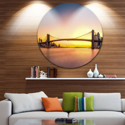 Design Art Brooklyn Bridge Panorama Yellow Sky Ultra Glossy Cityscape Circle Wall Art
