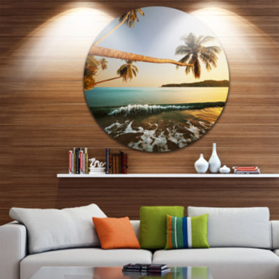 Design Art Andaman Sea Large Coconut Palms Large Seashore Metal Circle Wall Art