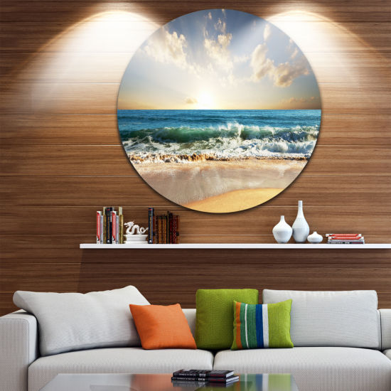 Design Art Cloudy Sky and Vibrant Blue Sea Seascape Metal Circle Wall Art