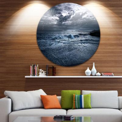Design Art Sochi Sea Storm in Blue Landscape MetalCircle Wall Art