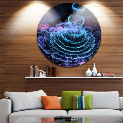 Design Art Glossy Blue Purple Fractal Flower LargeFloral Metal Circle Wall Art