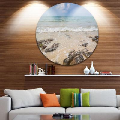 Design Art Rocks on Typical Tropical Beach Beach Photo Metal Circle Wall Art