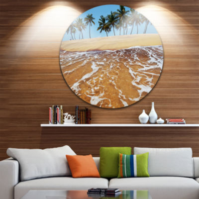 Design Art Tropical Beach with Crystal Waters Large Seashore Metal Circle Wall Art