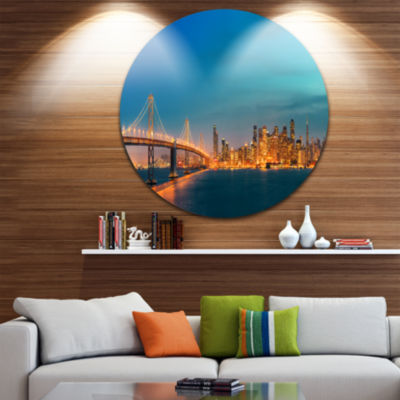 Design Art San Francisco Skyline at Night Ultra Glossy Cityscape Metal Circle Wall Art