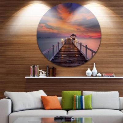 Design Art Dark Seashore Pier under Colorful Sky Pier Seascape Metal Circle Wall Art