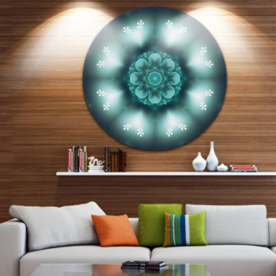 Design Art Green Fractal Flower Mandala Shape Large Floral Metal Circle Wall Art