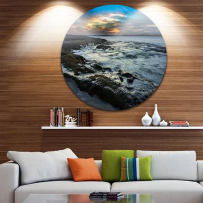Design Art Fascinating Sunset at Australia Coastline Large Seashore Circle Metal Wall Art