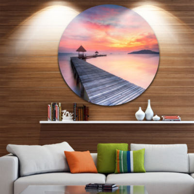 Design Art Stylish Wooden Bridge and Beach Sky Pier Seascape Metal Circle Wall Art