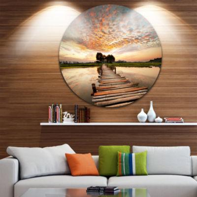 Design Art Makeshift Wooden Pier Over River Sea Bridge Metal Circle Wall Art