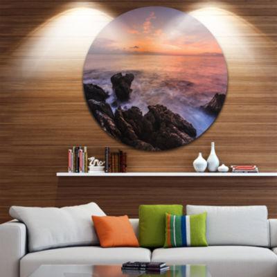 Design Art Sunrise over the Coast of Sicily BeachPhoto Metal Circle Wall Art