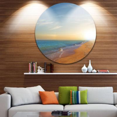 Design Art Quiet Evening Blue Beach Large SeashoreMetal Circle Wall Art
