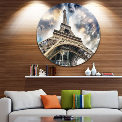 Design Art The Paris Paris Eiffel TowerView from Ground Ultra Glossy Cityscape Circle Wall Art