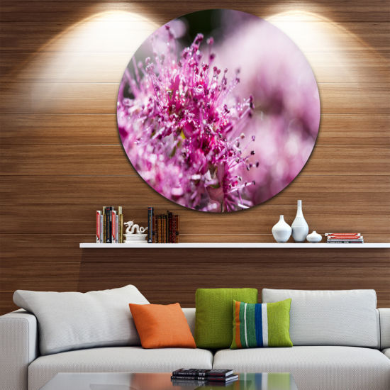 Design Art Bright Pink Little Flowers Large FlowerMetal Circle Wall Art