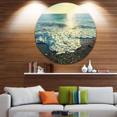 Design Art Dramatic Blue Waves on Beach Large Seashore Metal Circle Wall Art