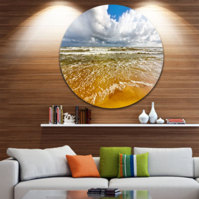 Design Art Stormy Summer Sea with White Clouds Seascape Metal Circle Wall Art
