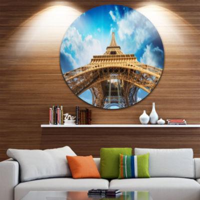 Design Art Beautiful view of Paris Paris Eiffel Towerin Paris Glossy Cityscape Circle Wall Art
