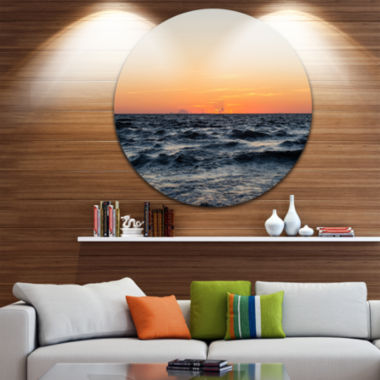 Design Art Red Dramatic Sunset Over Beach Large Seashore Metal Circle Wall Art