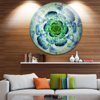 Design Art Large Blue Mandala Fractal Flower LargeFloral Metal Circle Wall Art