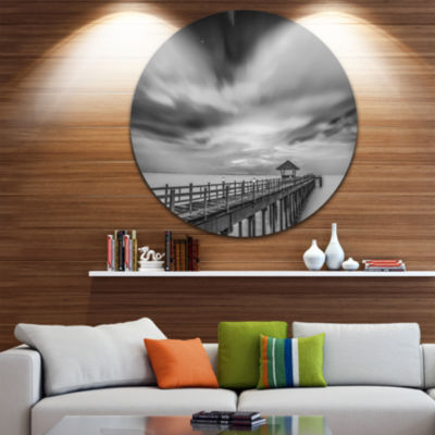 Design Art Black and White Wooden Bridge and Sky Pier Seascape Metal Circle Wall Art