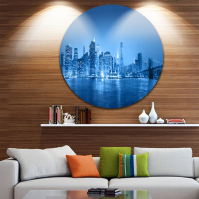 Design Art Blue Panorama of New York City Ultra Glossy Cityscape Circle Wall Art
