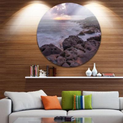 Design Art Dark Australian Seashore with Rocks Ultra Glossy Seashore Metal Circle Wall Art