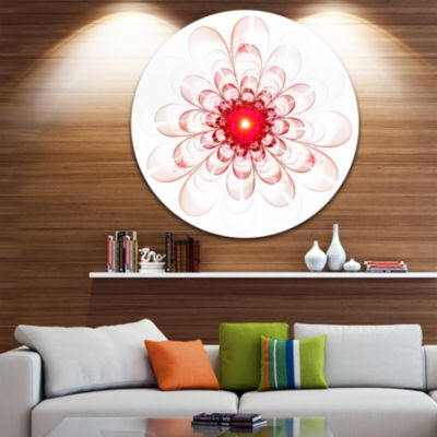Design Art Full Bloom Fractal Flower in Red LargeFlower Metal Circle Wall Art