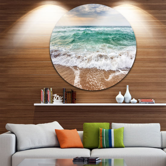 Design Art Crystal Clear Blue Foaming Waves Seascape Metal Circle Wall Art