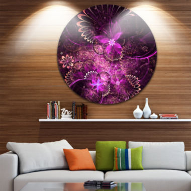 Design Art Glossy Bright Purple Fractal Flower Large Floral Metal Circle Wall Art