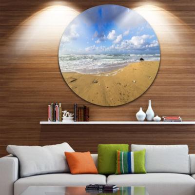 Design Art Sea Beach on Cloudy Winter Day Large Seashore Metal Circle Wall Art