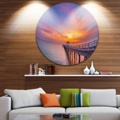 Design Art Wooden Bridge Long Into the Ocean PierSeascape Metal Circle Wall Art