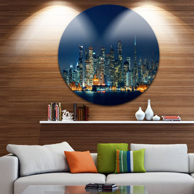Design Art San Francisco Skyline at Night Glossy Cityscape Metal Circle Wall Art
