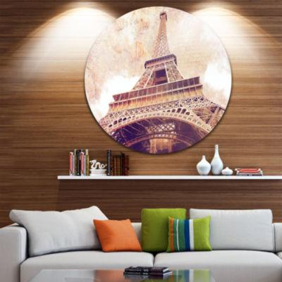 Design Art Paris Paris Eiffel TowerParis PostcardDesign Ultra Glossy Cityscape Circle Wall Art