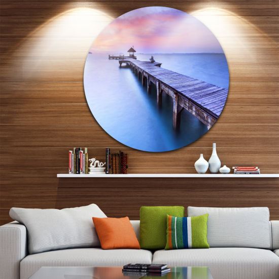 Design Art Beach with Blue Waters and Wood BridgePier Seascape Metal Circle Wall Art