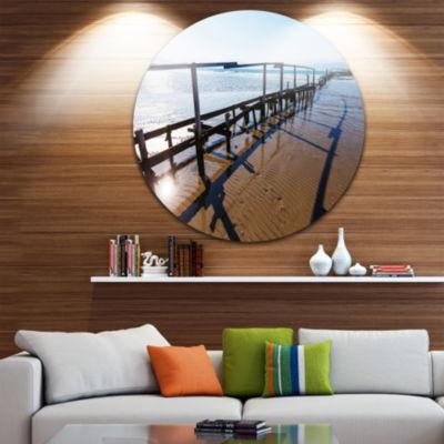 Design Art Wooden Boardwalk on Beach Large Sea Bridge Metal Circle Wall Art