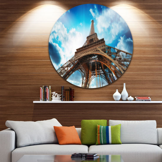 Design Art Beautiful Paris Paris Eiffel TowerunderBlue Sky Ultra Glossy Cityscape Circle Wall Art