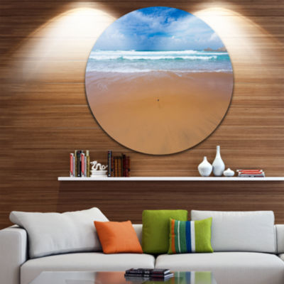 Design Art Peaceful Atlantic Seashore Portugal Beach Photo Metal Circle Wall Art