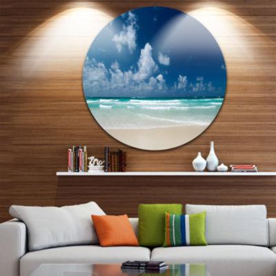 Design Art Bright Blue Sky on Winter Day Large Seashore Metal Circle Wall Art