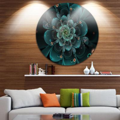 Design Art Full Bloom Fractal Flower in Blue LargeFlower Metal Circle Wall Art