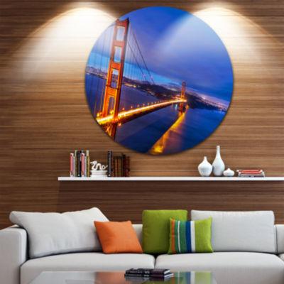 Design Art Golden Gate in Blue Background Ultra Glossy Sea Bridge Metal Circle Wall Art