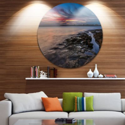 Design Art Colorful Sky and Dark Rocky Sydney Coast Ultra Glossy Seashore Metal Circle Wall Art