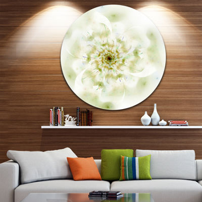 Design Art Full Bloom Fractal Flower in White Large Flower Metal Circle Wall Art